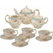 11 Piece Vintage Blue Rose Porcelain Tea Set