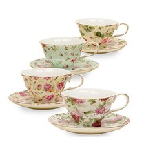 8 oz. Porcelain 4 Piece Tea Cup and Saucer Set