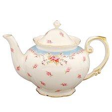 1.25-qt. Vintage Blue Rose Porcelain Teapot