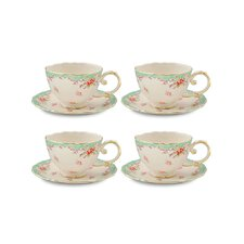 Vintage Green Rose Porcelain 7 oz. Tea Cup and Saucer (Set of 4)