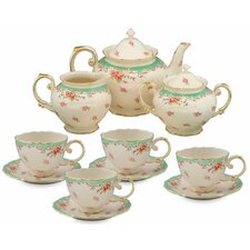 11 Piece Vintage Green Rose Porcelain Tea Set