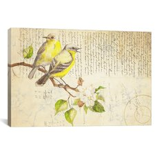 Saint-Priest Perched Birds on French Script Print on Canvas