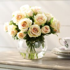 Creamy Peach Roses in Glass Cup Vase
