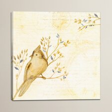 Istres Perched Bird on French Script Print on Canvas