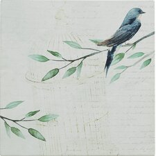 Tarbes Blue Bird on French Script Print on Canvas