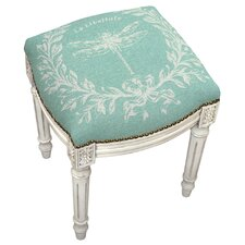 Clematite Dragonfly Linen Upholstered Vanity Stool