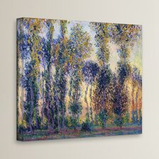 'Poplars at Giverny at Sunrise' by Claude Monet  Painting Print on Canvas