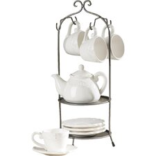 Aloès 9 Piece Cup and Saucer Teapot Set with Stand