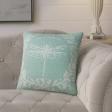 Clematite Dragonfly Linen Throw Pillow