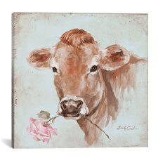 Cow with Rose Painting Print on Wrapped Canvas