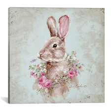 Bunny with Wreath Painting Print on Wrapped Canvas