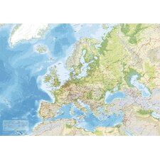 Leinwandbild Euro Map, Grafikdruck in Blau