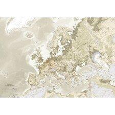 Leinwandbild Euro Map, Grafikdruck in Beige