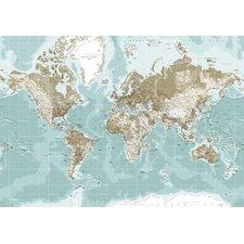 Leinwandbild World Map, Grafikdruck in Blau
