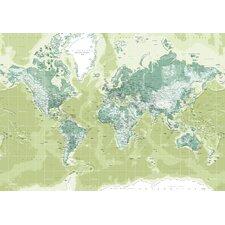 Leinwandbild World Map, Grafikdruck in Grün