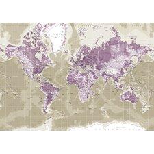 Leinwandbild World Map, Grafikdruck in Lila