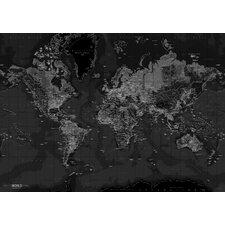 Leinwandbild World Map, Grafikdruck in Schwarz