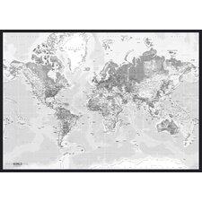 Leinwandbild World Map, Grafikdruck in Weiß