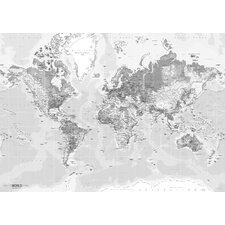 Leinwandbild World Map, Grafikdruck in Grau