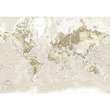 Leinwandbild World Map, Grafikdruck in Braun