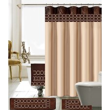 18 Piece Embroidery Shower Curtain Set