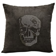 Luminescence Rhinestone Skull Suedette Throw Pillow