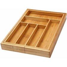 Bamboo 6 Compartment Flatware Organizer