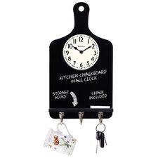 Chalk Board Key Holder Wall Clock