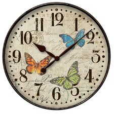 """12"""" Round Butterfly Wall Clock"""