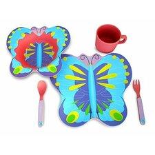 Culina 5 Piece Kids Bamboo Fiber Butterfly Dinnerware Set