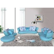 4 Piece Modern Top Grain Leather Sofa Set