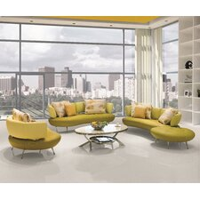 4 Piece Modern Top Grain Leather Sofa Set