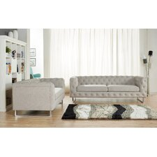 Scroll 2 Piece Modern Linen Fabric Sofa Set