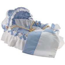 Moses Basket With Pique Gingham Bedding And Canopy