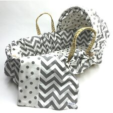 Moses Basket With Chevron Bedding And Canopy