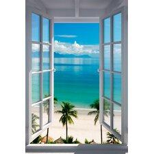 Wandbild Strand Fenster Grafikdruck