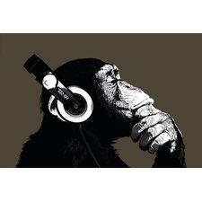 Leinwandbild Schimpanse mit Kopfhörer Kunstdruck