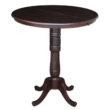 Round Pedestal Bar Height Pub Table with Leaf