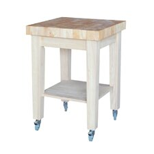 Kitchen Cart with Butcher Block with Storage