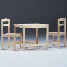 Unfinished Wood Kids' 3 Piece Table and Chair Set