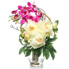 Angie Peony and Orchid Silk Floral Arrangements