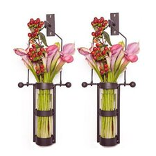 Wall Mount Hanging Cylinder Vase (Set of 2)