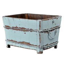 Distressed Chinese Square Sink Bucket with Iron Handles
