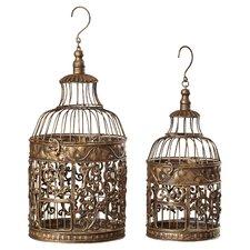 Ettie 2 Piece Decorative Metal Bird Cage Set