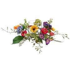 Hailey Daisy RanunculusMorning Glory Centerpiecewith Candleholder