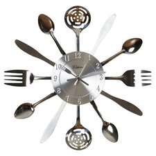 "Elgin 15"" Quartz Wall Clock with Utensil Shaped Hands"