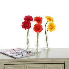 Daisy in Red / Orange / Yellow with Bud Vase (Set of 3)
