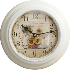 """8.2"""" Round Watering Can and Sunflower Design Wall Clock"""