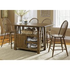 Centre Island 5 Piece Pub Dining Table Set in Weathered Oak