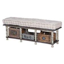 Bella Farmhouse Wood Storage Bedroom Bench